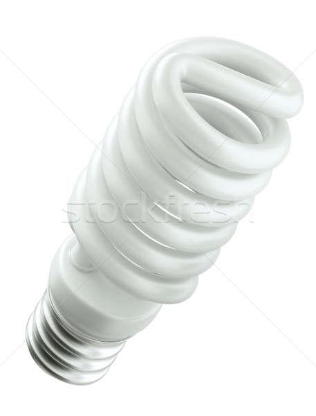 Energia hatékony spirál villanykörte izolált fehér Stock fotó © Arsgera