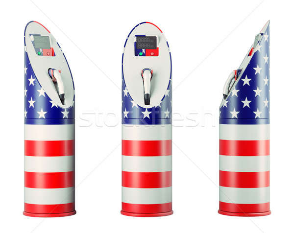 Eco fuel: isolated charging stations with USA flag pattern  Stock photo © Arsgera