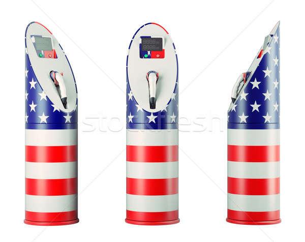 Эко топлива изолированный США флаг шаблон Сток-фото © Arsgera