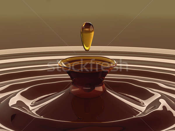 Drinks: closeup of tea drop with ripples and waves Stock photo © Arsgera