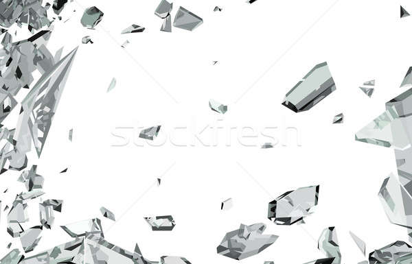 Smashed and shattered glass isolated on white Stock photo © Arsgera