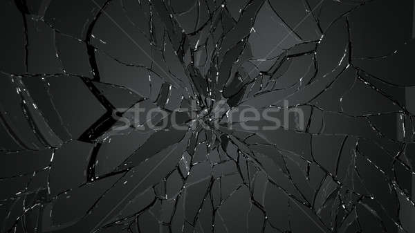 Demolished or cracked glass on black Stock photo © Arsgera