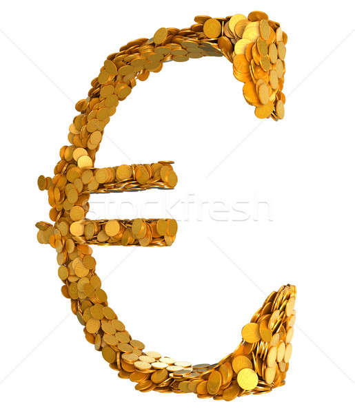 Golden Euro. Symbol assembled with coins Stock photo © Arsgera