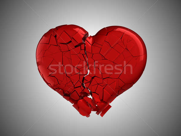 Hurt and pain. Red Broken Heart  Stock photo © Arsgera