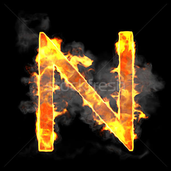 Burning and flame font N letter Stock photo © Arsgera
