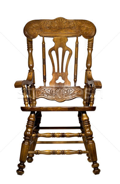 Antique wooden chair front view Stock photo © Arsgera
