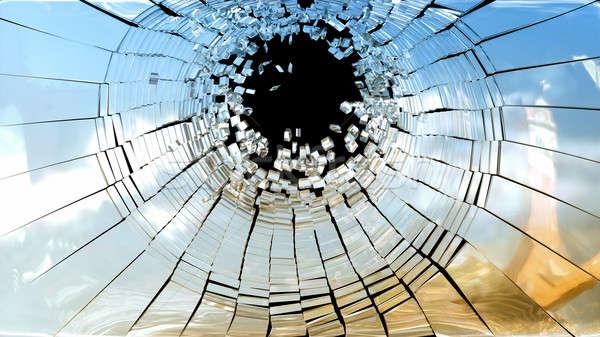 Tatort Stücke defekt Spiegel Glas isoliert Stock foto © Arsgera