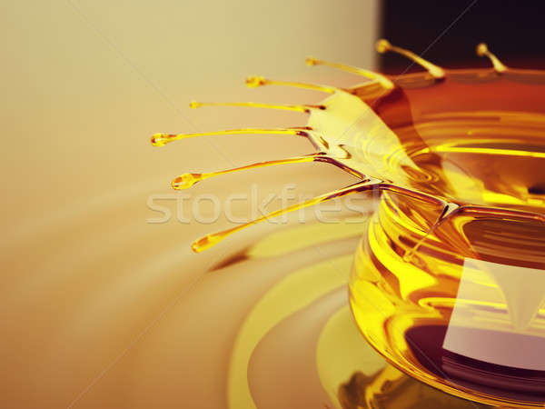 Oil splash and ripples with drops Stock photo © Arsgera