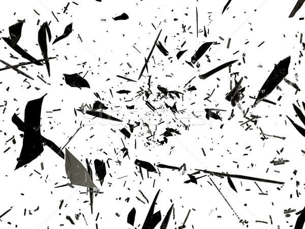 Shattered or splitted glass Pieces isolated on white Stock photo © Arsgera