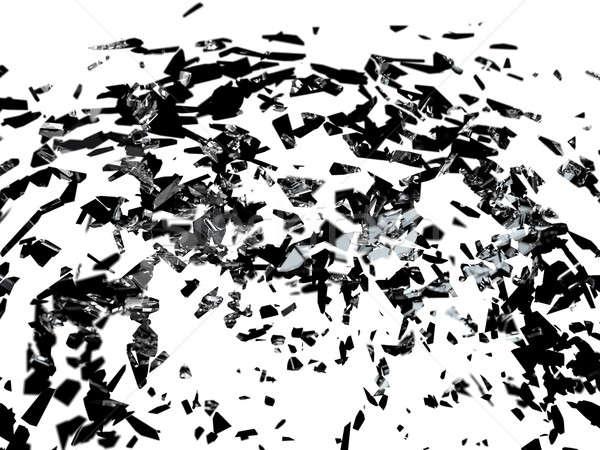 Broken glass pieces isolated on white Stock photo © Arsgera