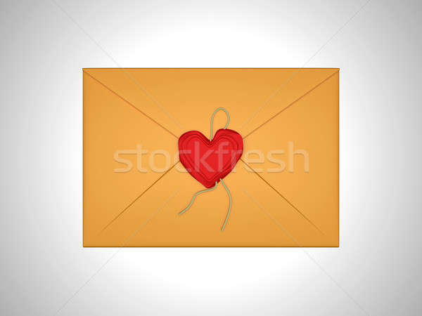 Love message - letter sealed with red sealing wax Stock photo © Arsgera