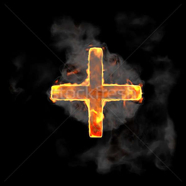 Burning and flame font plus symbol Stock photo © Arsgera