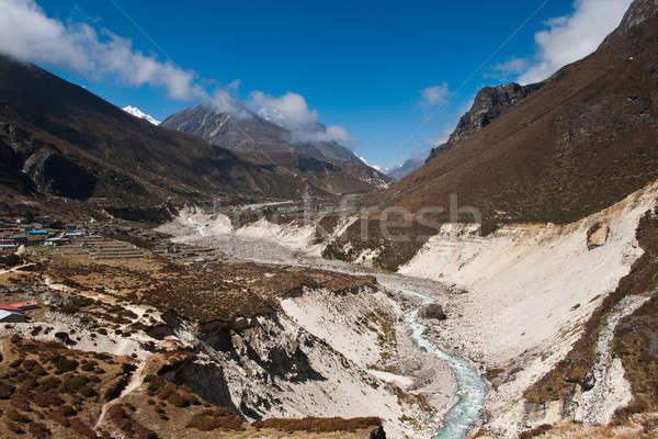 Himalaya Landscape: highland village and peaks Stock photo © Arsgera