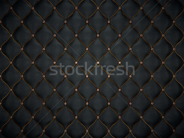 Luxury leather pattern with golden wire and diamonds Stock photo © Arsgera
