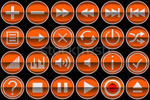 Naranja panel de control iconos botones aislado negro Foto stock © Arsgera