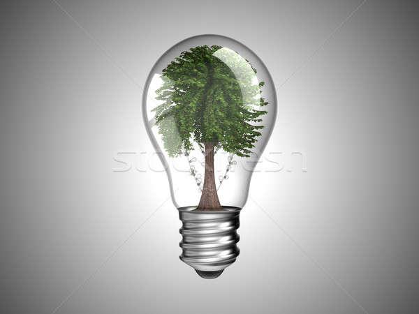 Stock photo: Lightbulb with green tree inside it
