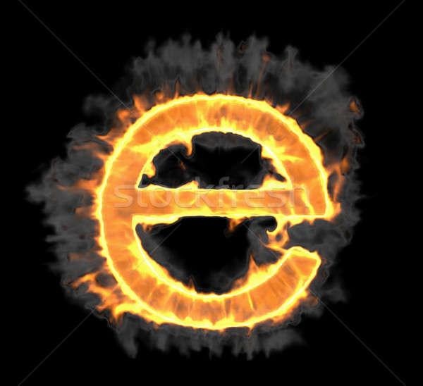 Brandend vlam doopvont brief zwarte textuur Stockfoto © Arsgera