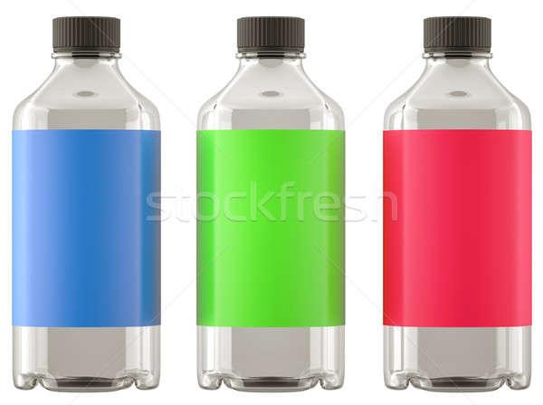 Három üvegek vegyszerek drogok színes matricák Stock fotó © Arsgera