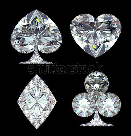 Top and side views of heart shaped diamond Stock photo © Arsgera