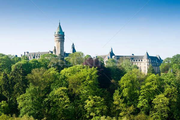 Luxemburgo castelo verde árvores primavera edifício Foto stock © Arsgera