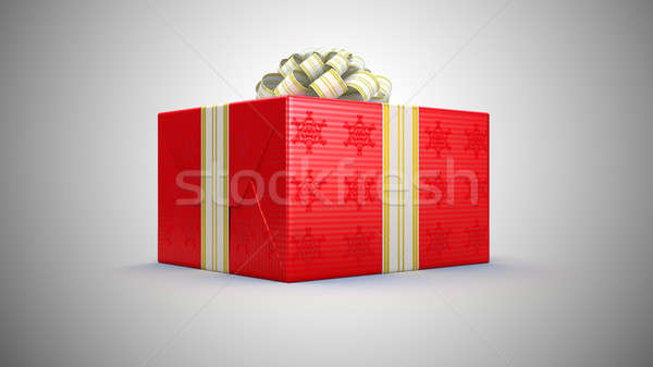 Present or gift box with bow over grey Stock photo © Arsgera