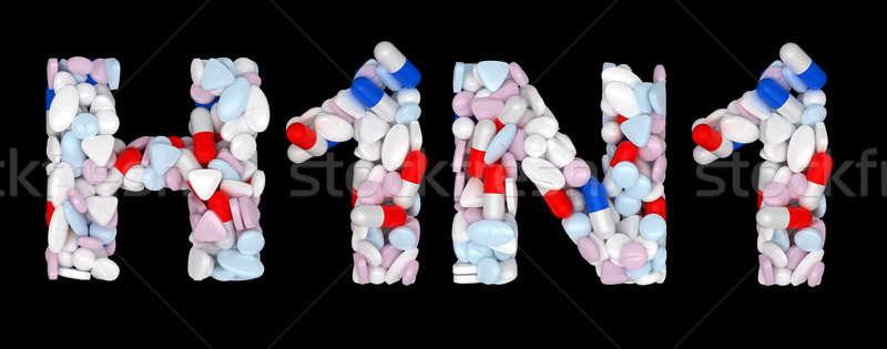 H1n1 pastillas drogas forma aislado negro Foto stock © Arsgera