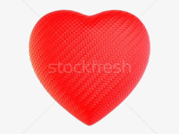 Red woven fiber heart shape isolated Stock photo © Arsgera