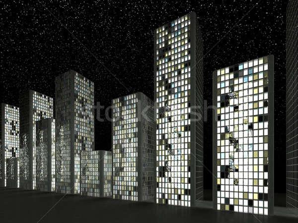 Város absztrakt felhőkarcolók csillagos ég éjszaka üzlet Stock fotó © Arsgera