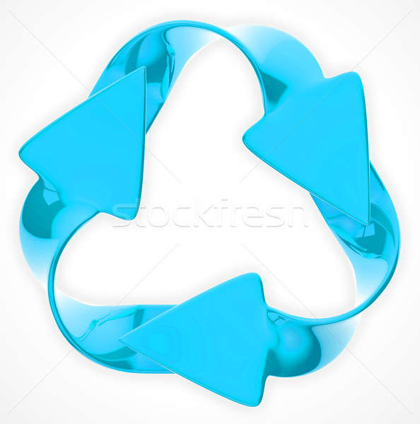 Environmental sustainability: blue recycling sign Stock photo © Arsgera
