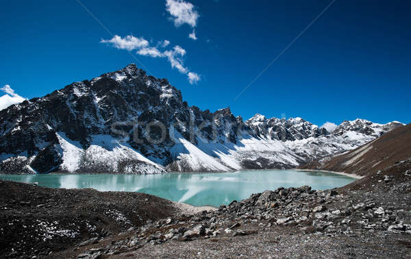 Sacred Lake and peak near Gokyo in Himalayas Stock photo © Arsgera