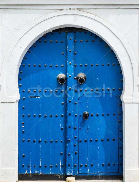 Blue gate and door with ornament from Sidi Bou Said Stock photo © Arsgera