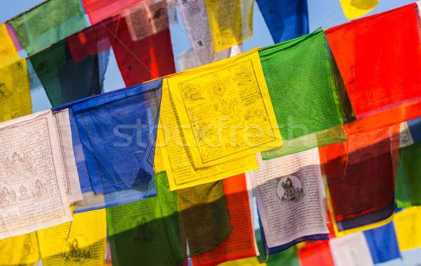 Színes buddhista ima zászlók kék ég vallás Stock fotó © Arsgera