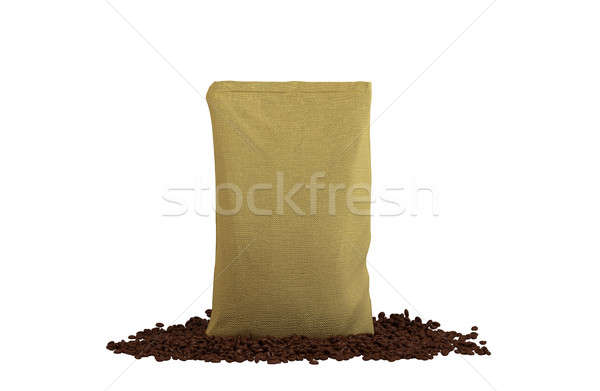 Sacking Pack on coffee beans isolated Stock photo © Arsgera