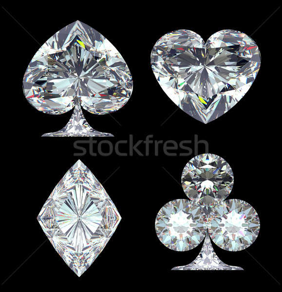 Diamond Card Suits isolated over black Stock photo © Arsgera