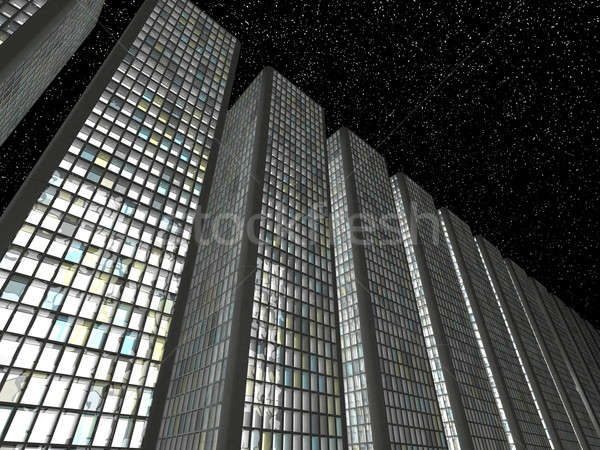 Megalópole noite abstrato arranha-céus negócio Foto stock © Arsgera