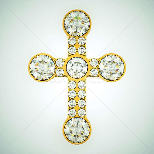 Religião moda dourado atravessar diamantes Foto stock © Arsgera