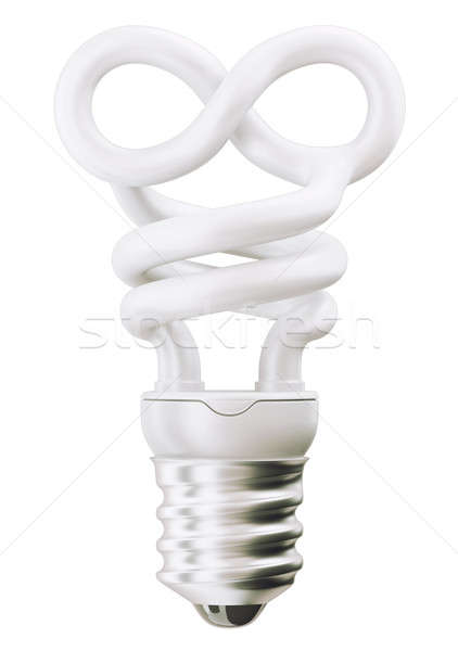 infinity or eternity symbol light bulb over white Stock photo © Arsgera