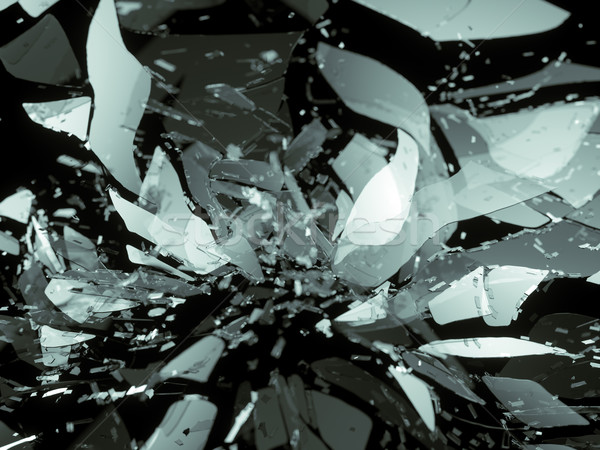 glass breaking pieces on black shallow DOF Stock photo © Arsgera