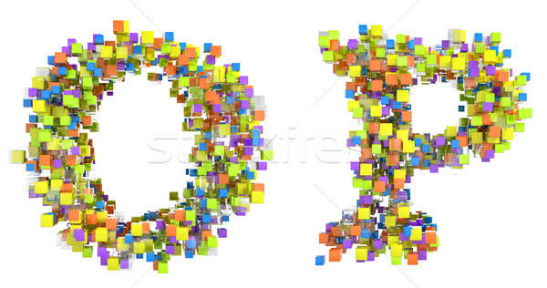 Abstract cubic font O and P letters Stock photo © Arsgera