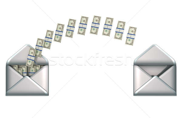 Stock photo: Money transfer - US dollars and 2 envelopes