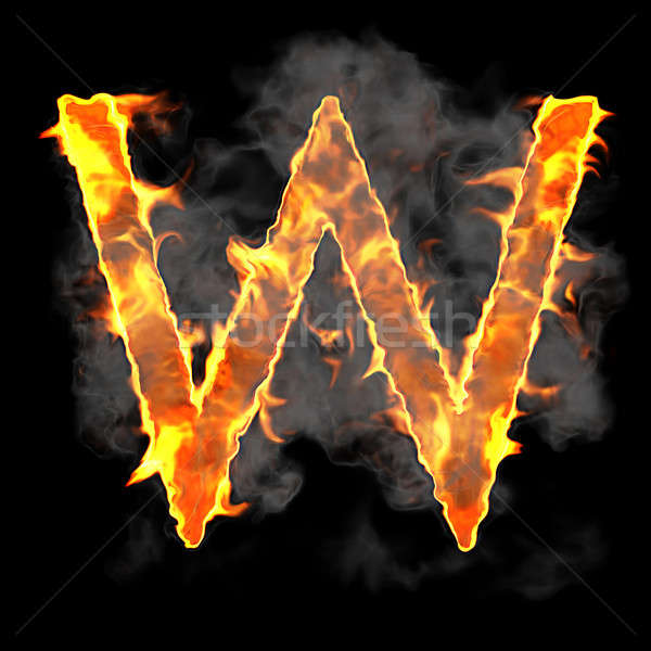 Burning and flame font W letter Stock photo © Arsgera