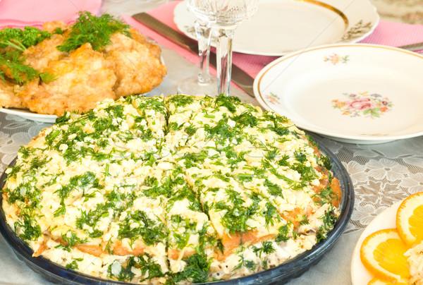 Torta banquete restaurante um prato Foto stock © Arsgera
