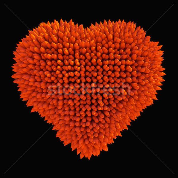 Dangereux amour forte forme de coeur isolé noir Photo stock © Arsgera