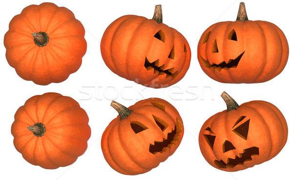 Halloween pompoenen collectie geïsoleerd scary grappig Stockfoto © Arsgera