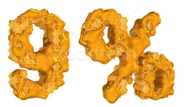 Honey font 9 numeral and percent mark isolated Stock photo © Arsgera