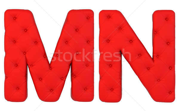 Stock photo: Luxury red leather font N M letters