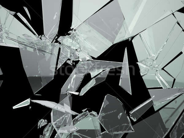 Peças quebrado vidro quebrado preto abstrato projeto Foto stock © Arsgera