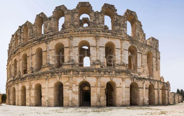Romano anfiteatro panorama África Tunísia parede Foto stock © Arsgera
