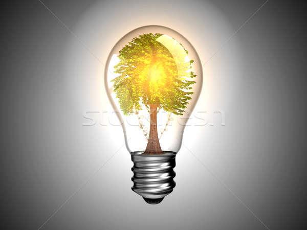 Lightbulb with tree inside it and light Stock photo © Arsgera
