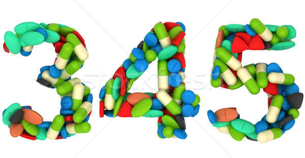 Pills font 3 4 and 5 numerals isolated Stock photo © Arsgera